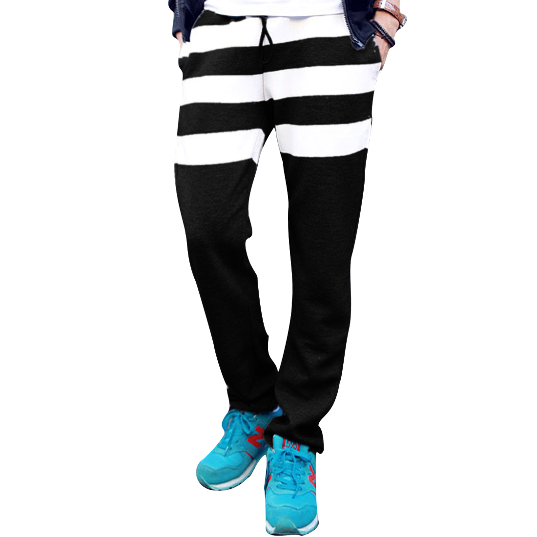 Man Chic Faux Leather Panel Striped Black Sports Long Pants W28