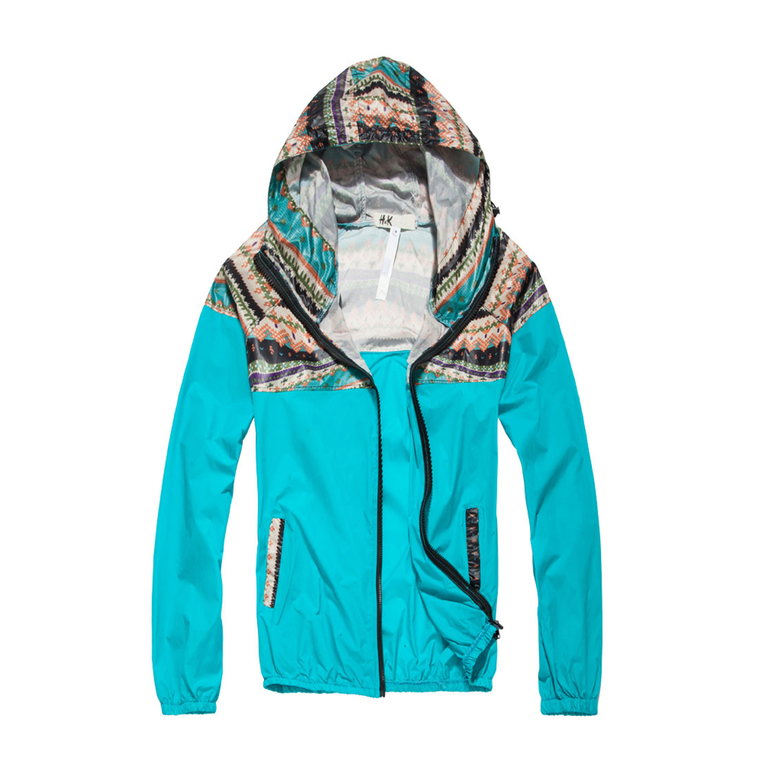 Men's Easy-wear Soft Novelty Printing w Pockets Blue Hooded Windbreaker M