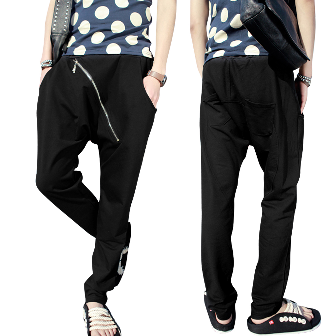 Men's Elastic Waist Zip Decor w Pockets Black Harem Pants S
