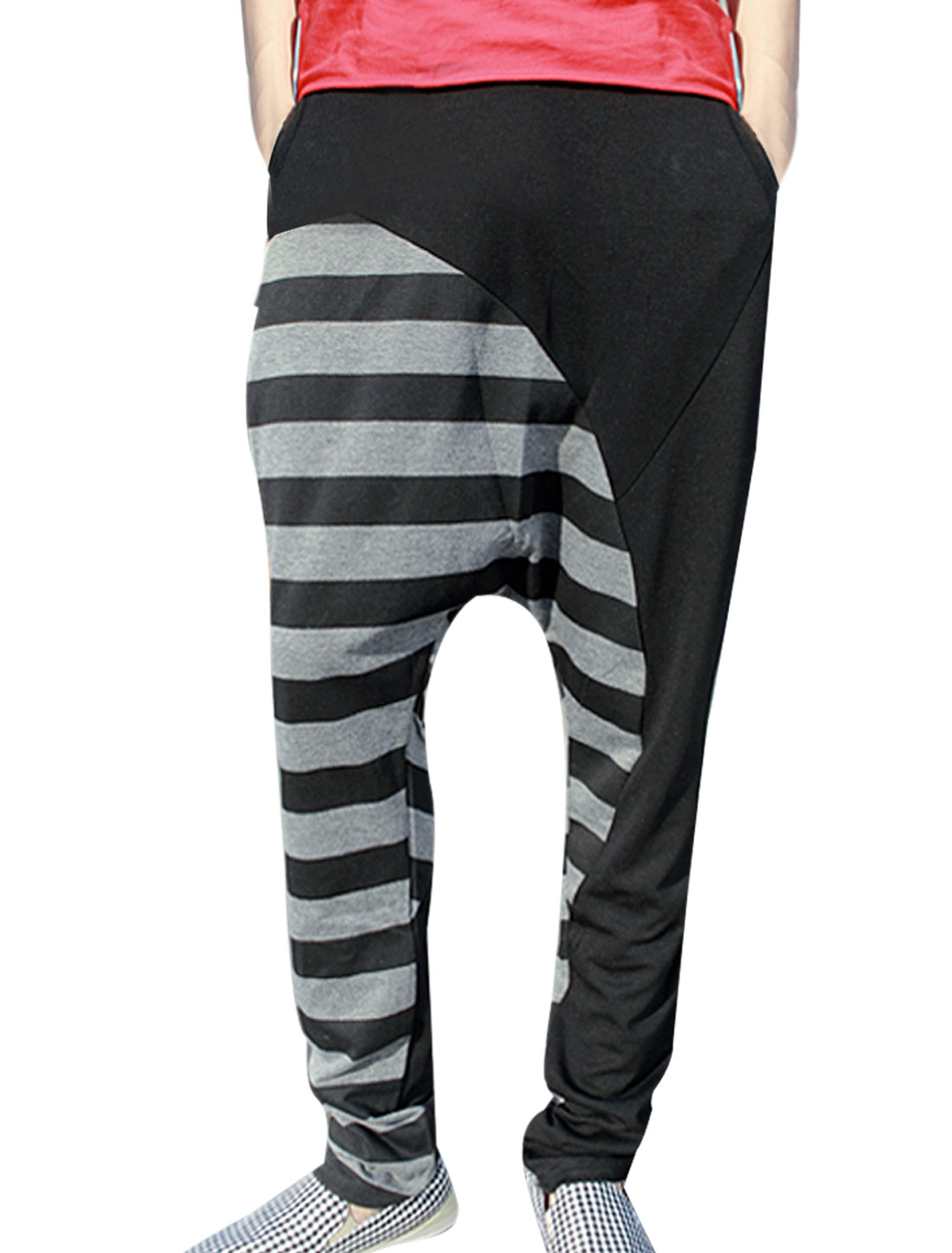 Men Elastic Waist Slant Pockets Stripes Harem Pants Black Gray W27