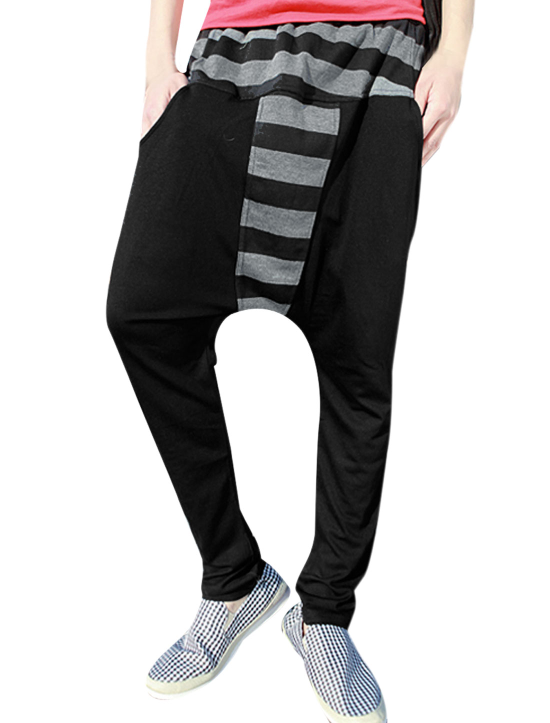 Men Stripes Strech Waist Two Pockets Front Black Harem Pants W32