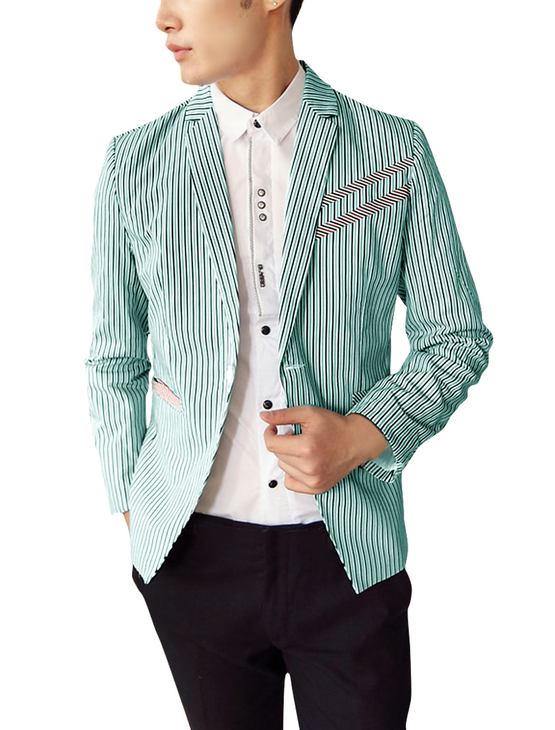 Mens Notched Lapel Padded Shoulder Green Dark Blue Striped Blazer S