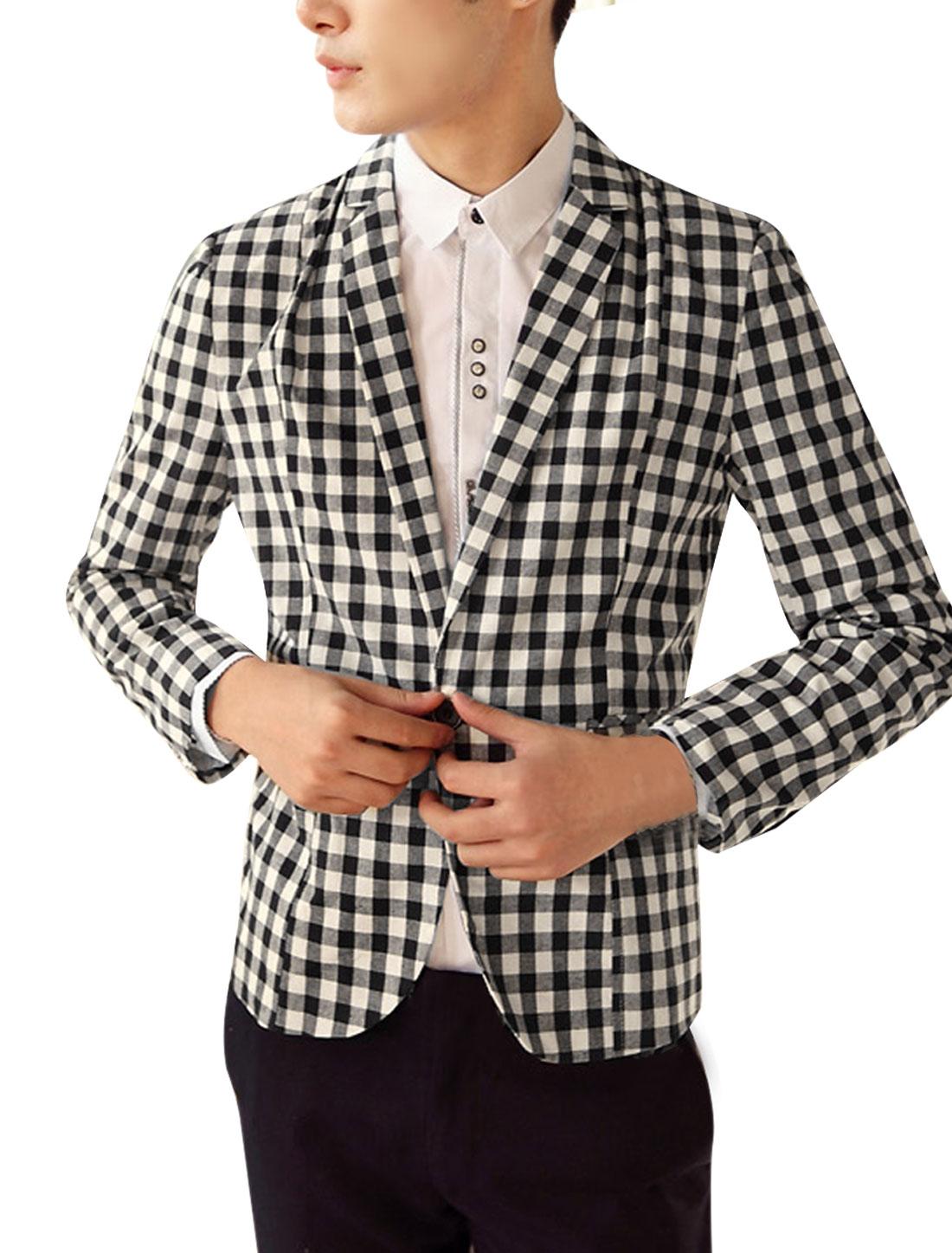 Men's Black White Plaids One Button Casual Blazer Jacket S