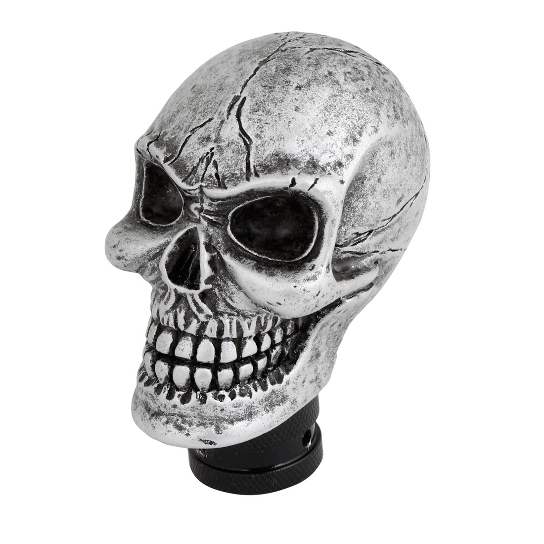 Silver Tone Cracked Skull Universal Auto Car Gear Stick Shift Knob Shifter Cover