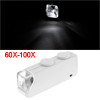 Portable White LED Light Illuminated Magnifier 60X-100X Microscope