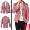 Man Contrast Color Red Black Vertical Striped Casual Blazer S