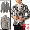Men's Black White Plaids One Button Casual Blazer Jacket S