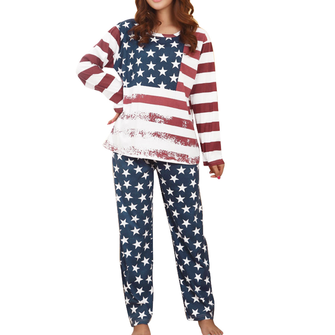Long Sleeve Navy Blue Red White American Flag Design Pajama Sets S for Ladies