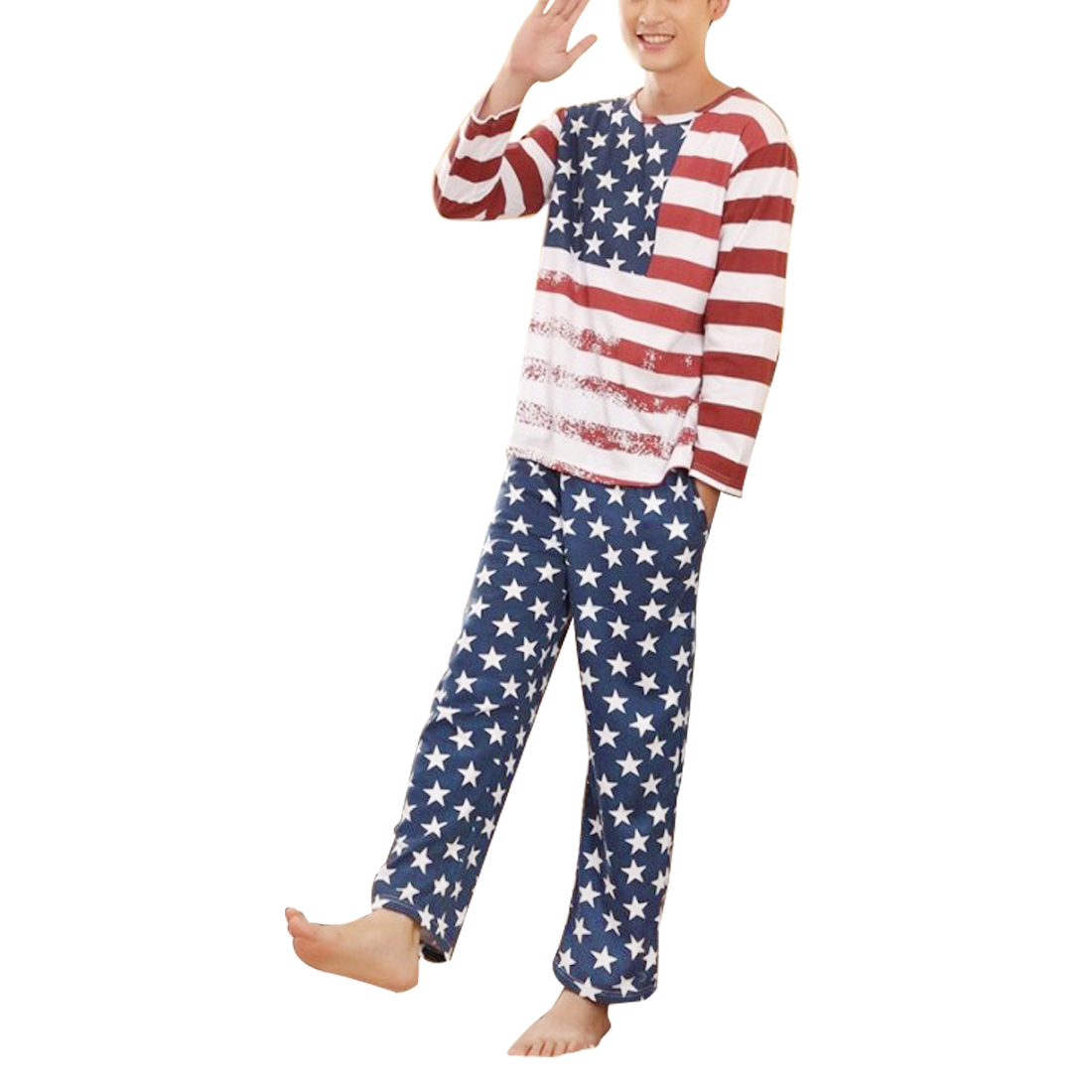 Lovers Men Long Sleeve Navy Blue Red White American Flag Design Pajama Sets M