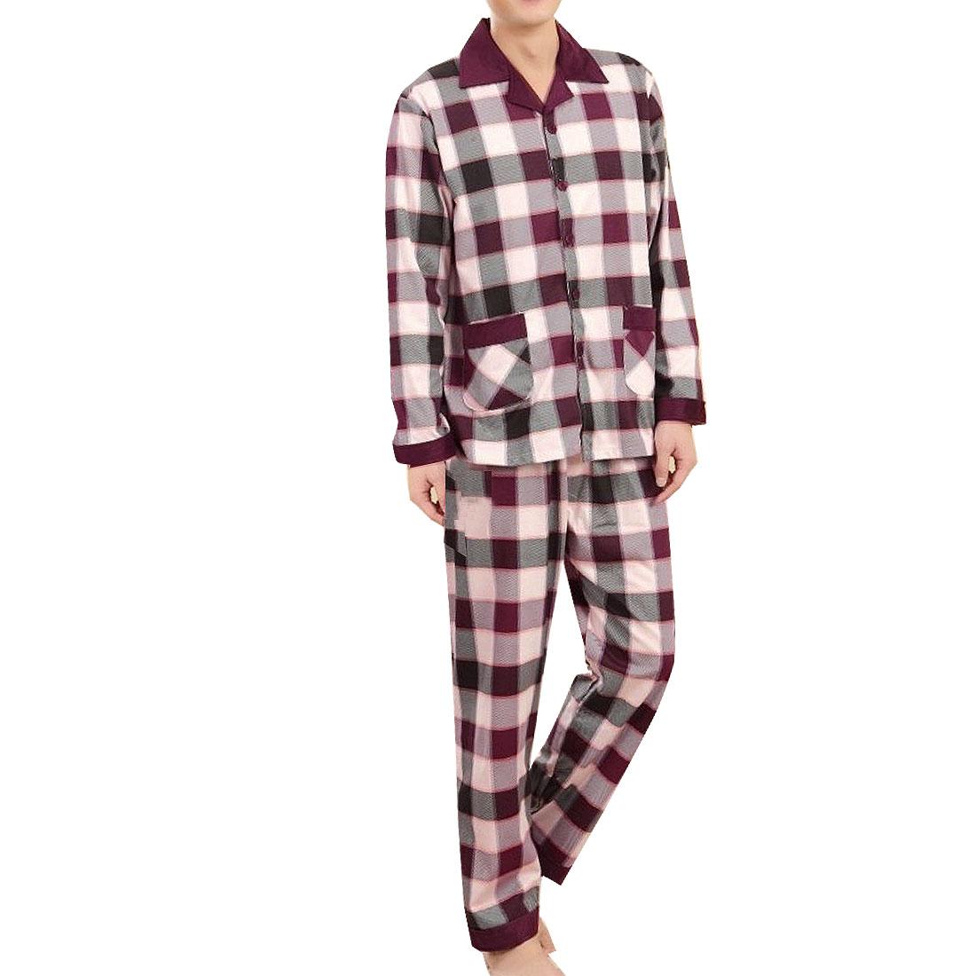 Spring Autumn Grids Pattern Sleepwear Suits Dark Purple White S for Couples Men