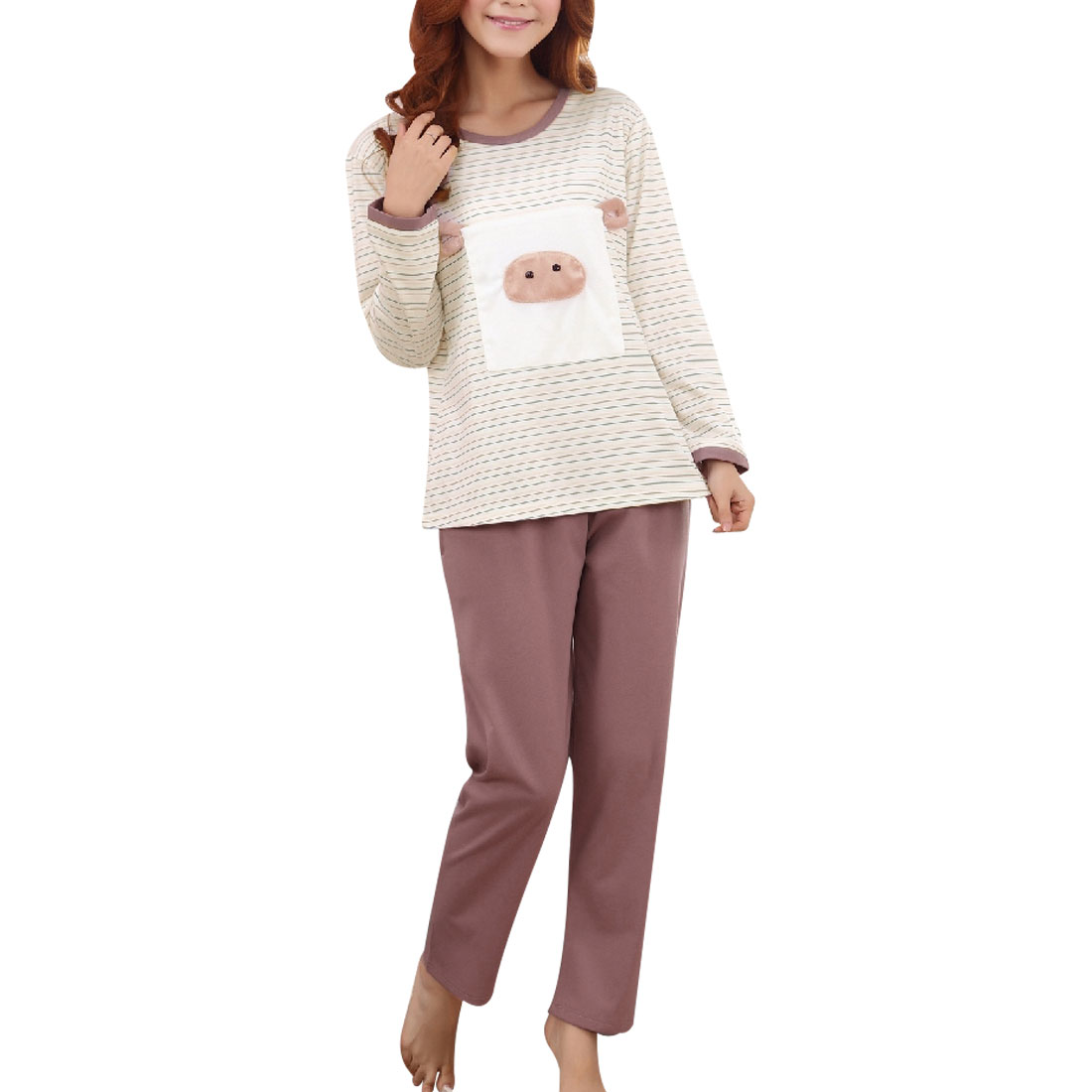 Long Sleeve Pig Detailing Sleepwear Suits Rosybrown White S for Woman