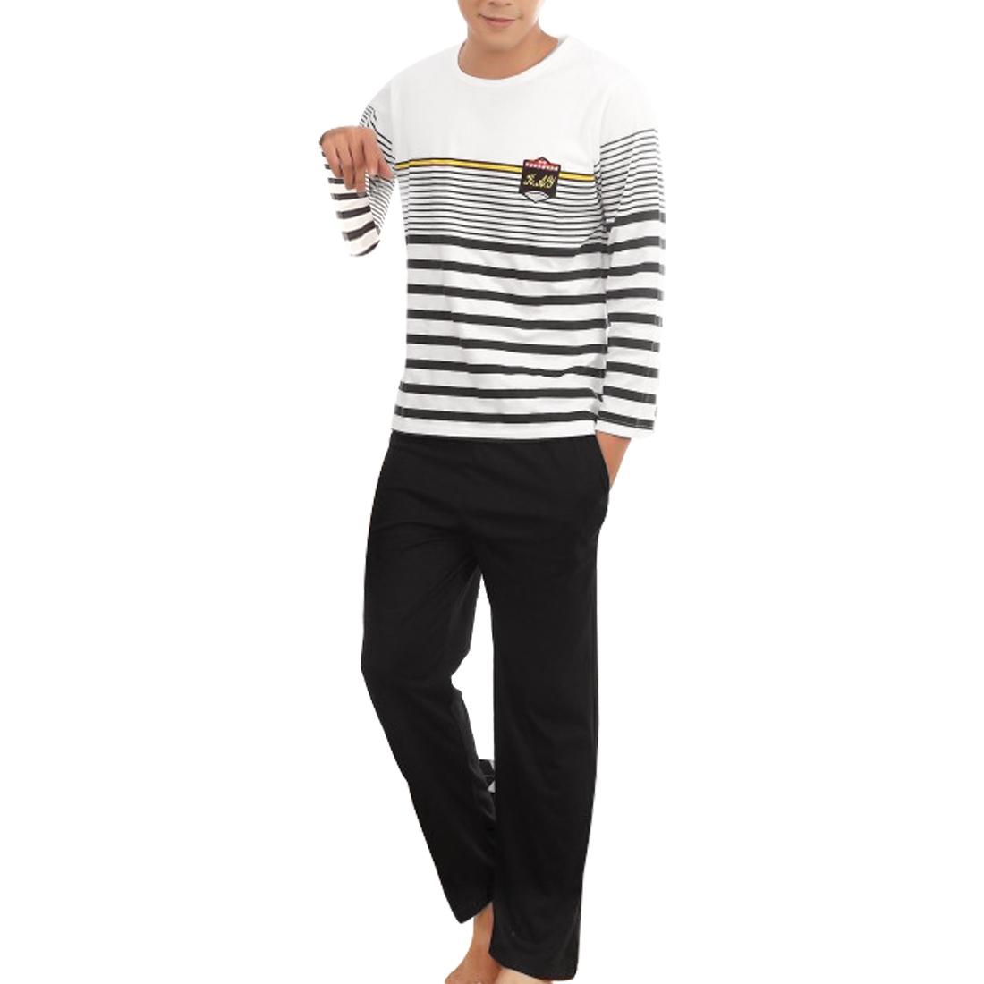 Men Autumn Spring Round Neck Black White Stripes Print Pajama Sets L
