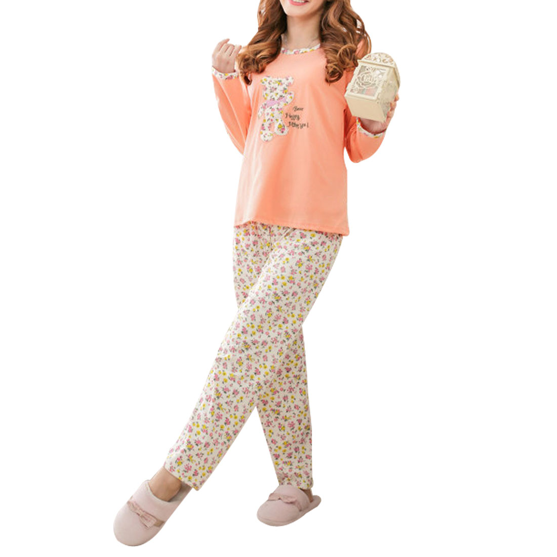 Women Flowers Printed Round Neck Pullover Leisure Pajama Sets Peach Pink White M