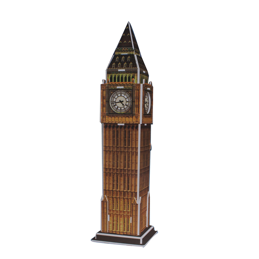 Child 3D Foam Big Ben Designed Assembling Puzzle Toy Light Brown