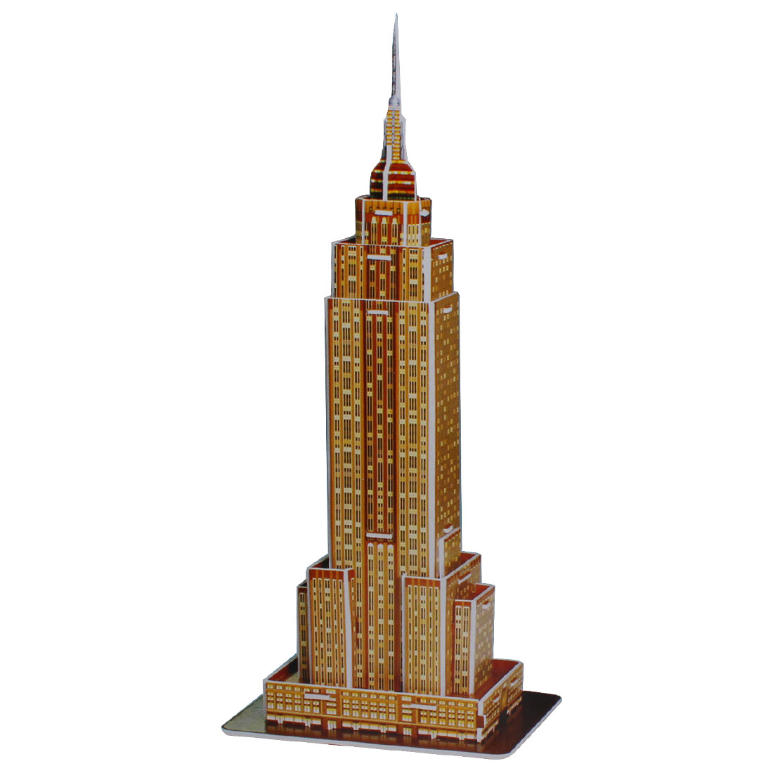 Gold Tone Empire State Building Model Foam Construction Kit Kid Puzzle Toy