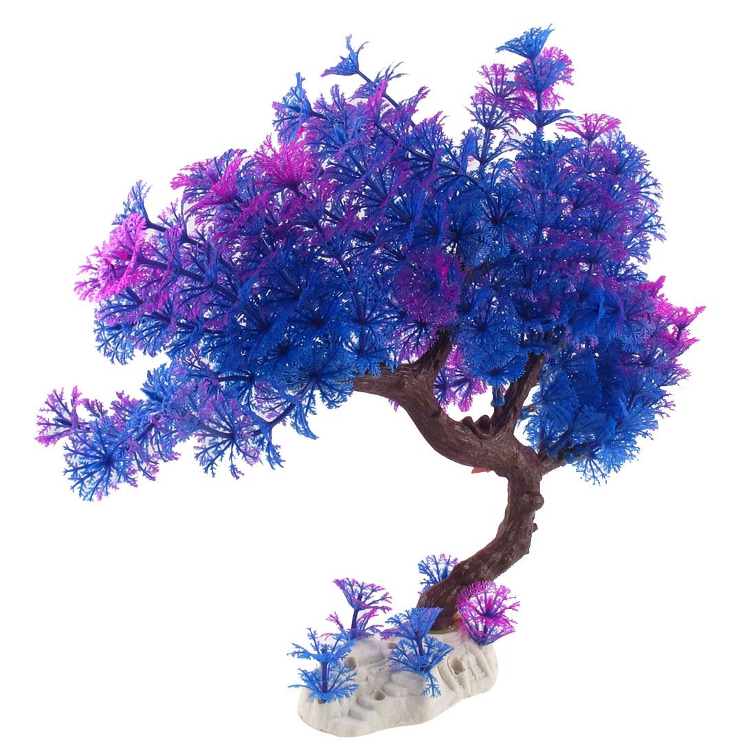 """Fish Tank Aquarium Accent Plastic Blue Underwater Plants 11.8"""" Height Purple"""