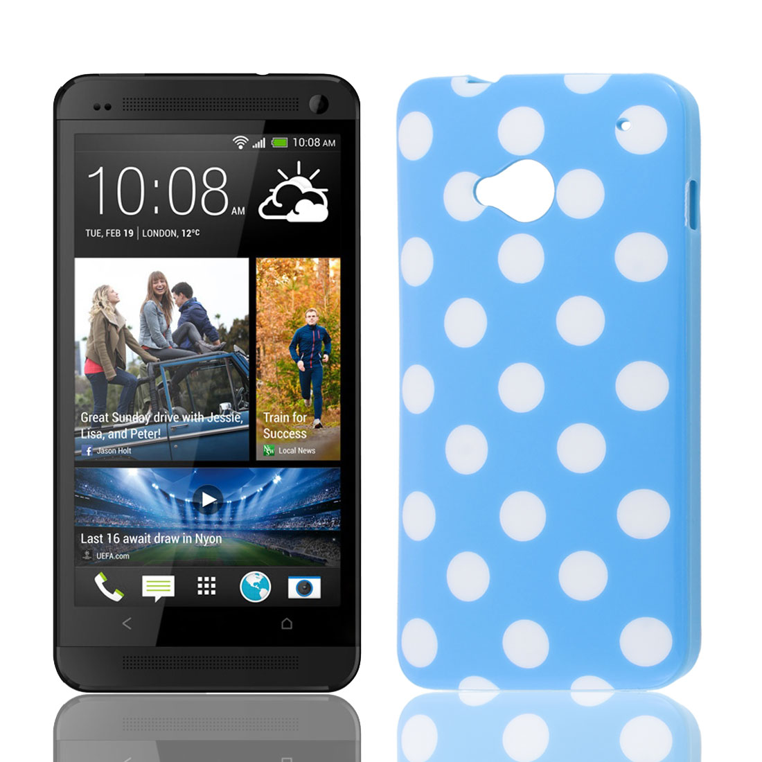White Round Dots Pattern Soft Plastic Protector Case Cover Blue for HTC One M7