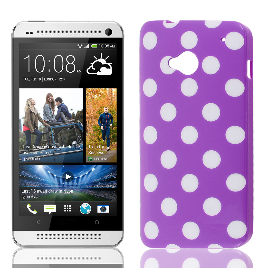 White Round Dots Pattern Soft Plastic Protector Case Cover Purple for HTC One M