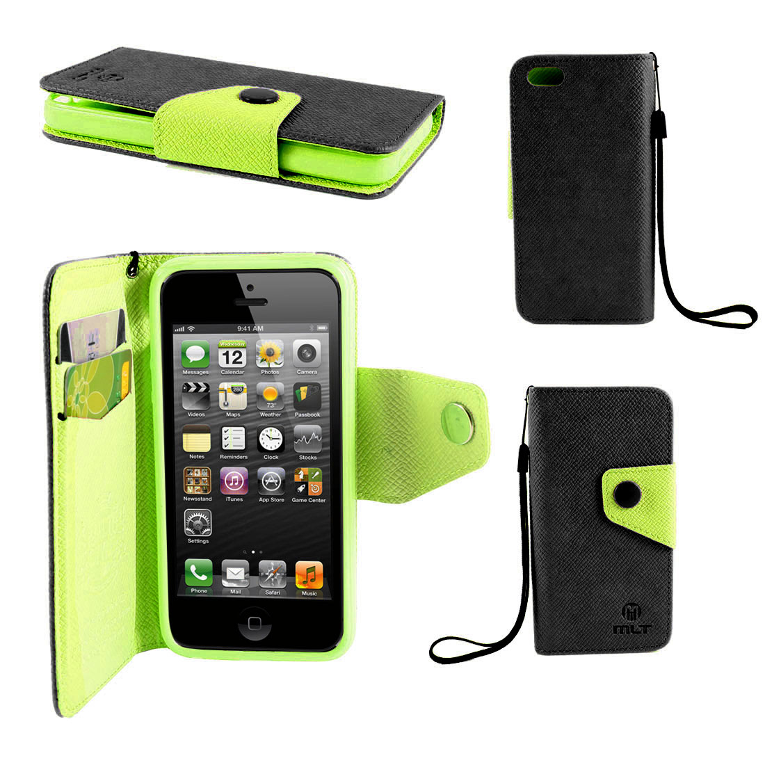 Black Green Faux Leather Magnetic Flip Pouch Case Cover for iPhone 5 5G