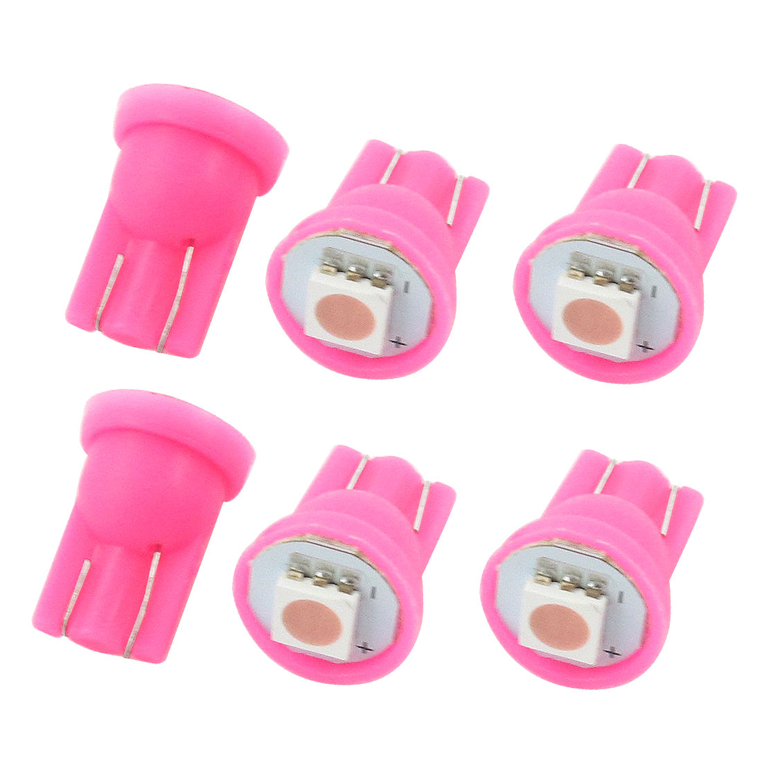 6 Pcs T10 194 168 W5W Wedge 5050 Pink 1-SMD LED 12V Dashboard Light Bulbs for Car