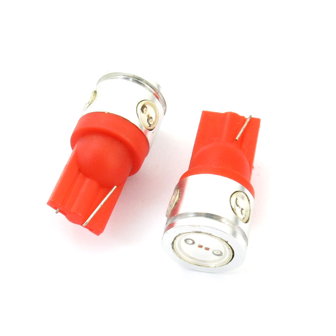 Pair DC 12V T10 W5W 4 Red Auto Side Wedge Dashboard Lamp Bulbs 2.5W