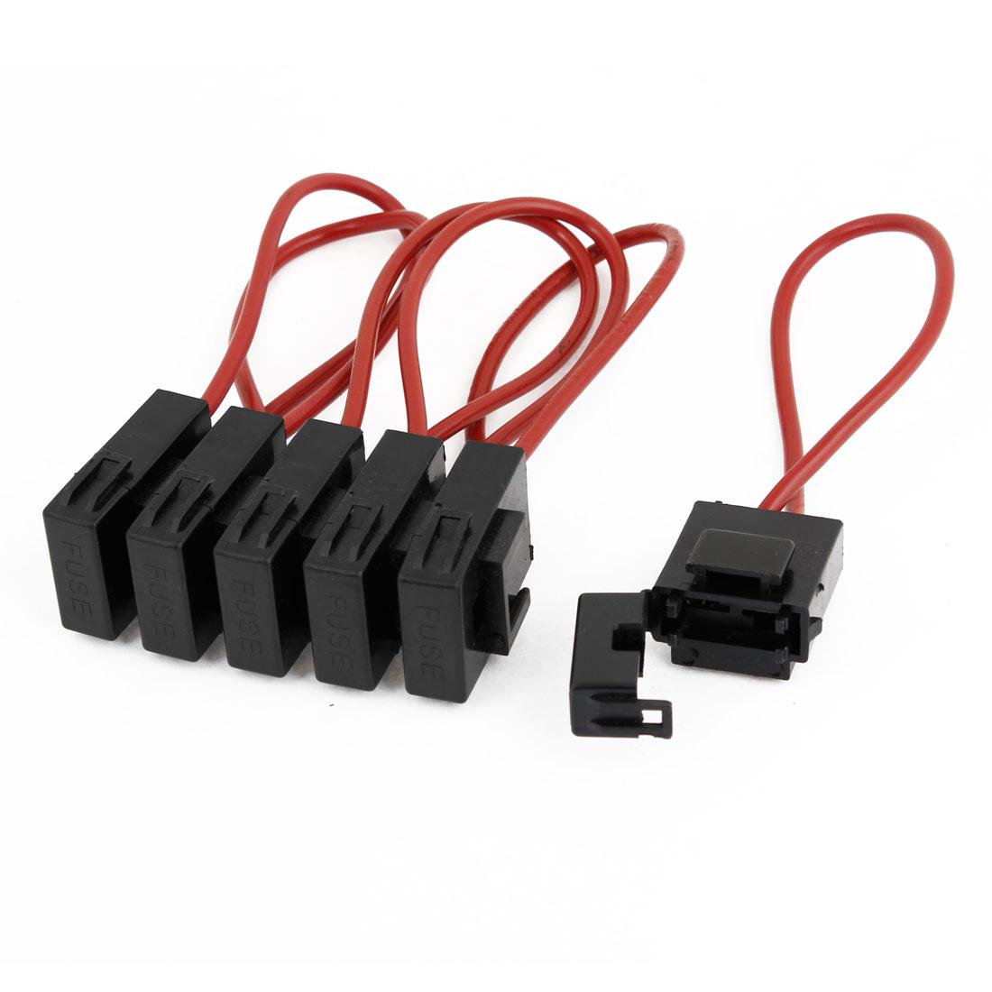 6 Pcs Auto Car Audio Inline Vane Fuse Holder Black Red DC 12V
