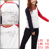 Lady Letters Pattern Long Sleeve Leisure Nightwear Suits Dark Blue White Red M