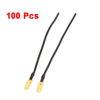 "100 Pcs Black 0.75mm2 Wire Coil Cable 6.3"" Length for Car Speaker"