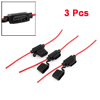3 x Screw Type 30cm Length Inline Fuse Holder Red for Car