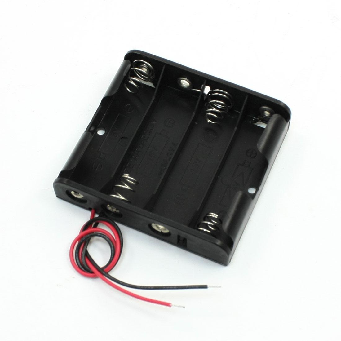 Single Side 4 x 1.5V AA Battery Case Holder Black