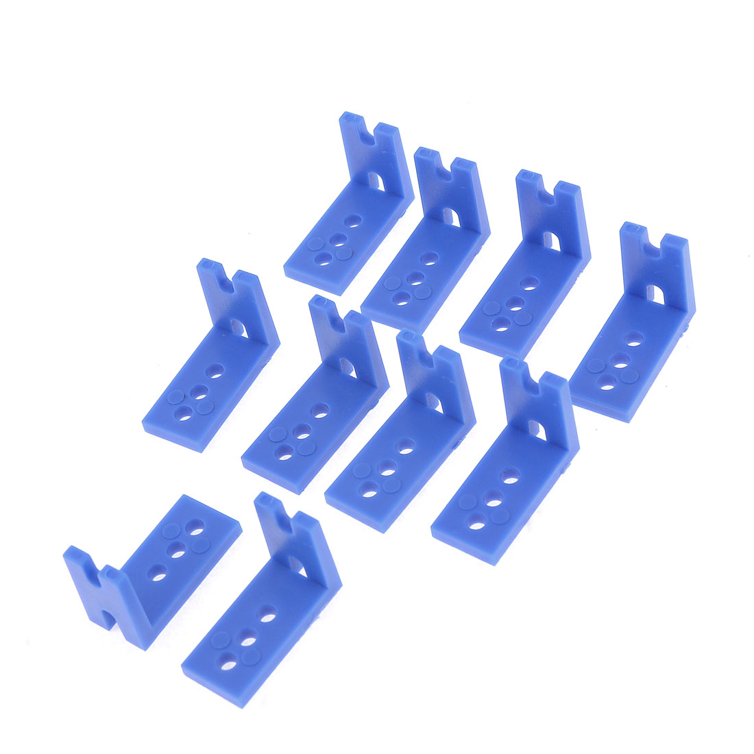10 Pcs Blue Plastic Robot Model Devices Linking Connecting Angle Brackets
