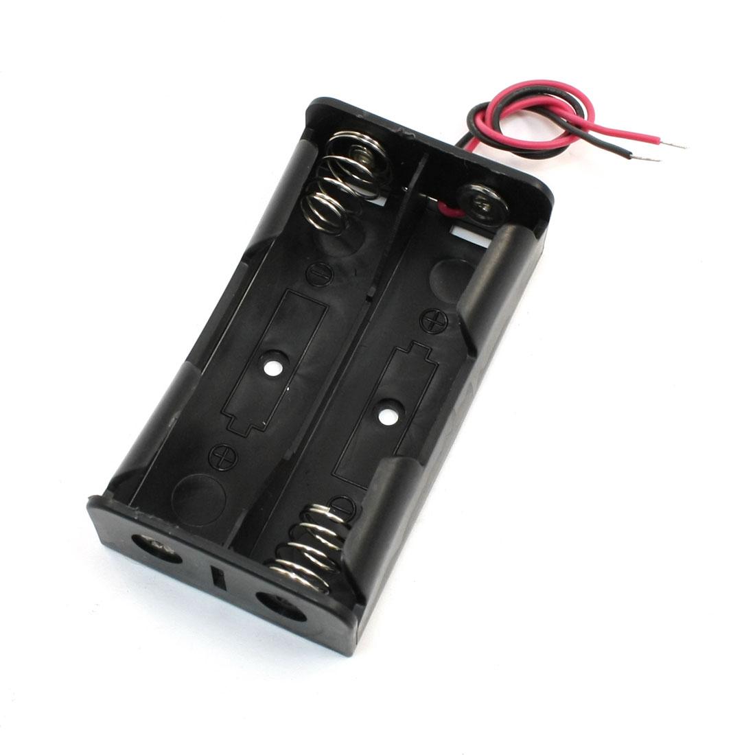 Black Plastic Open Frame Wired 2 x 3.7V 18650 Battery Case
