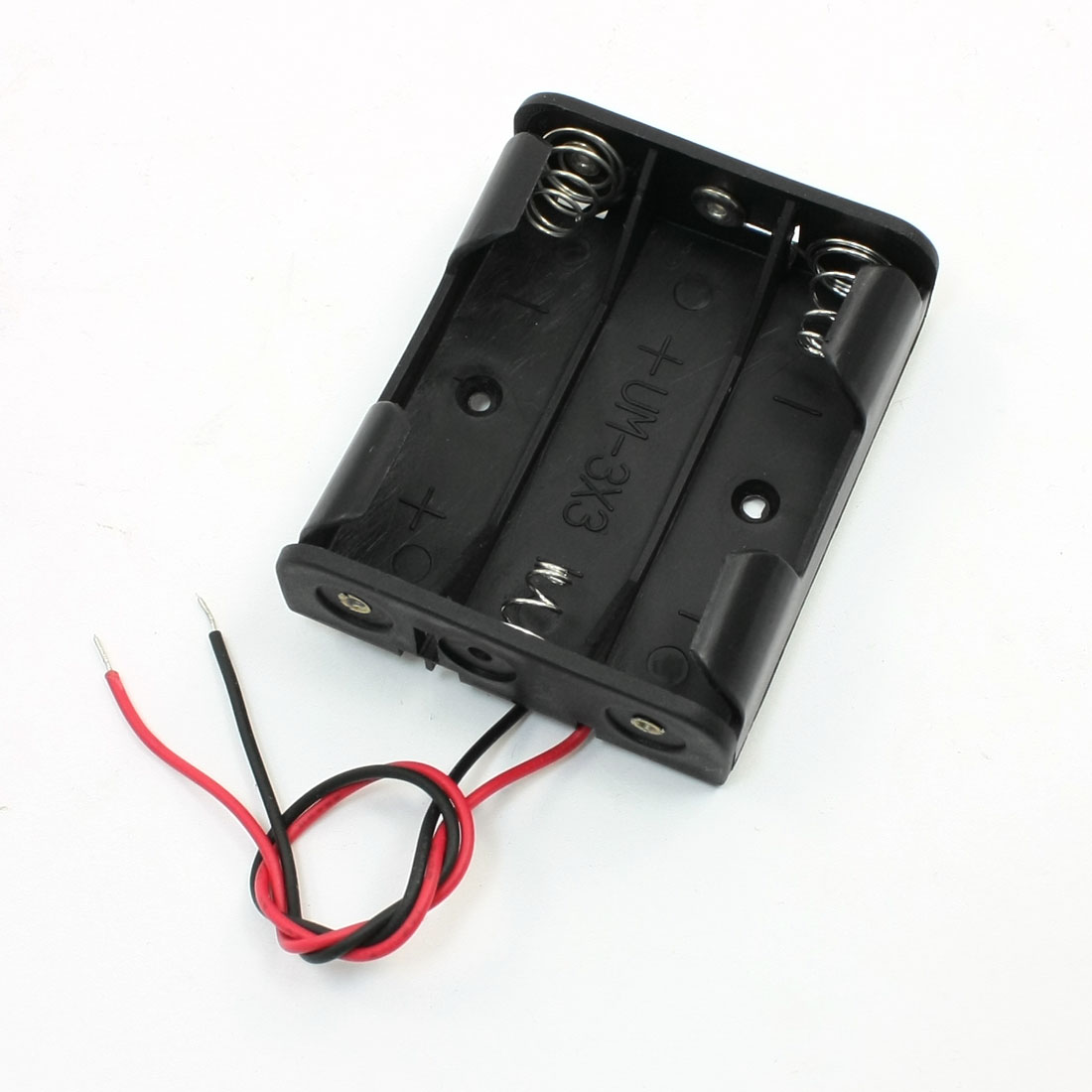 Black Plastic Wired 3 x 1.5V AA Battery Case Holder
