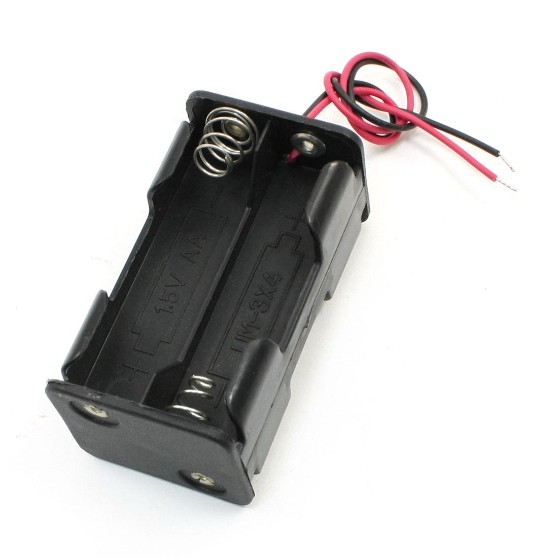 Dual Wire Double Side Spring Loaded 4 x 1.5V AA Batteries Case