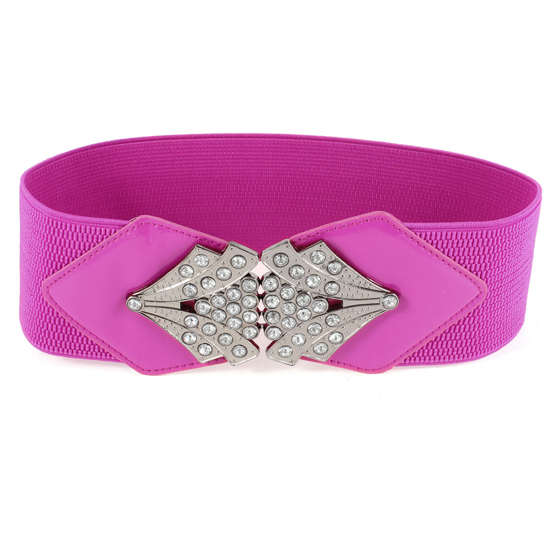 Lady Rhinestone Accent Interlock Buckle Stretchy Waist Belt Fuchsia