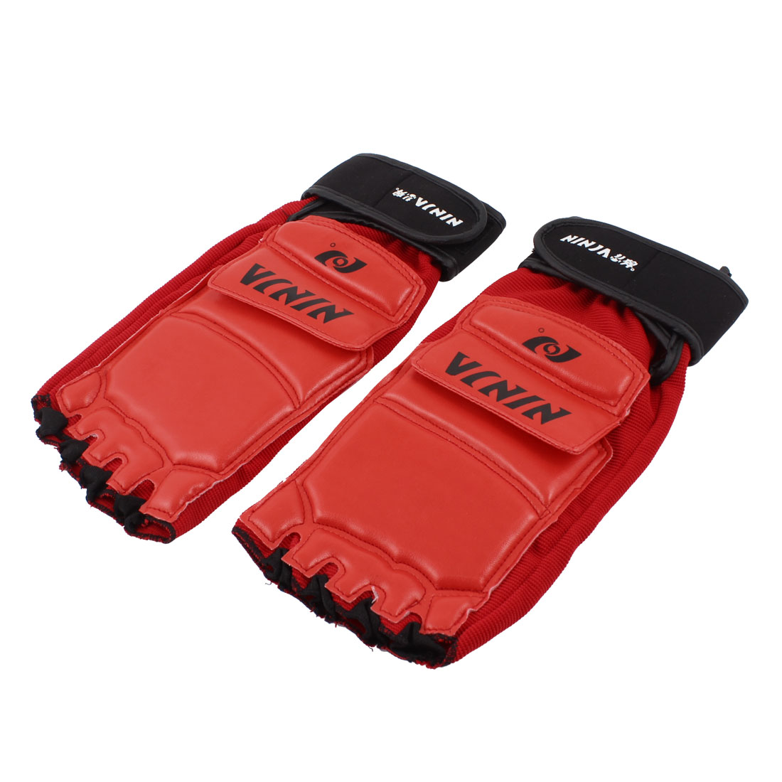 Pair Red Black Faux Leather Elastic Taekwondo Foot Protector Guard