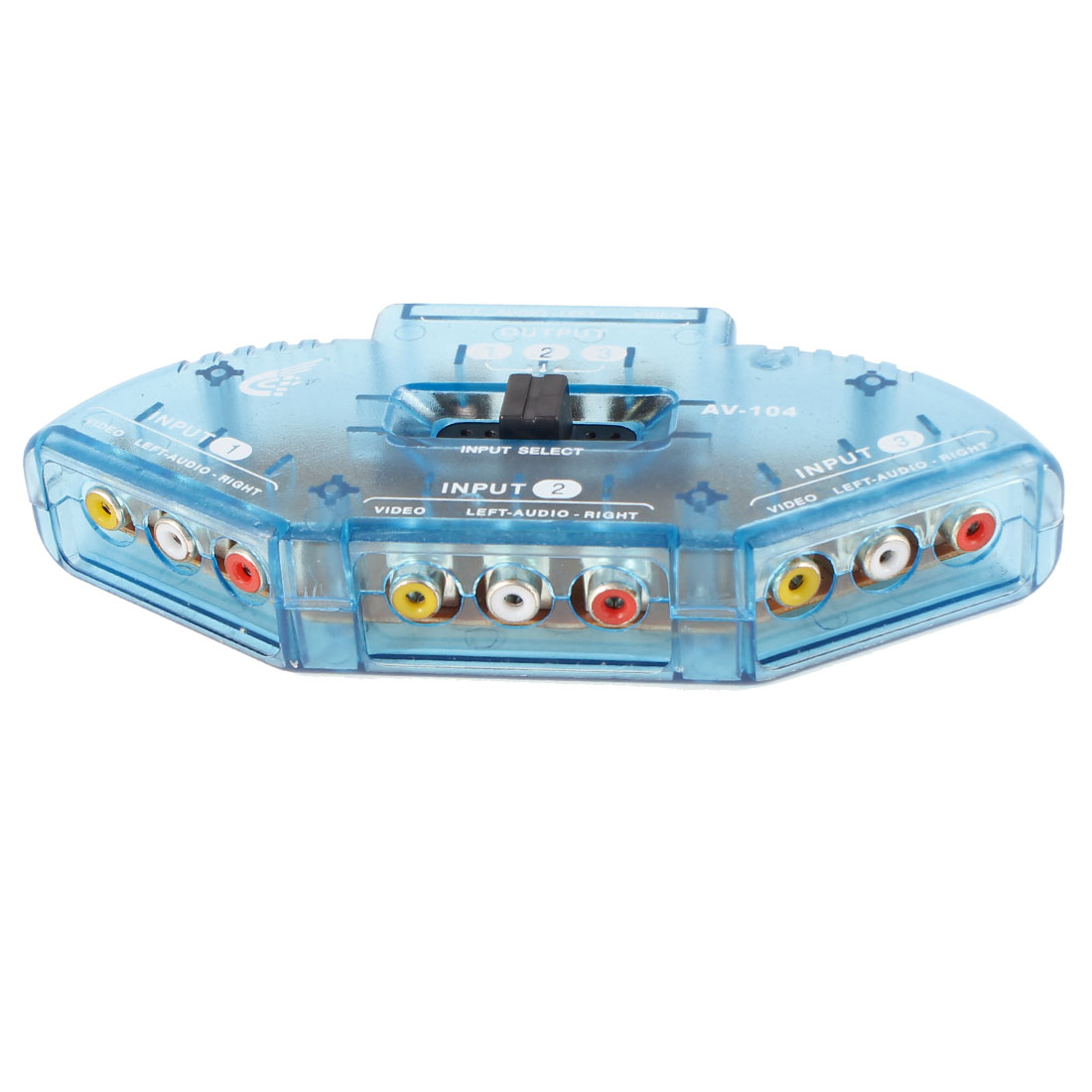3-Way Audio Video AV RCA Switch Game Selector Box Splitter Clear Blue w AV Cable