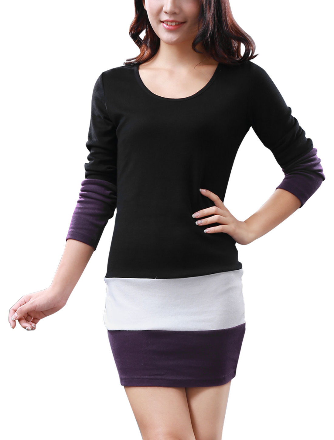 Women Chic Scoop Neck Long Splice Sleeve Black Mini Dress L