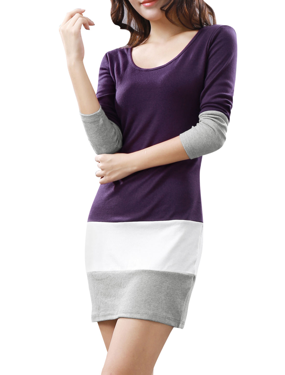 Women Scoop Neck Long Sleeves Color Block Mini Dress Purple XS