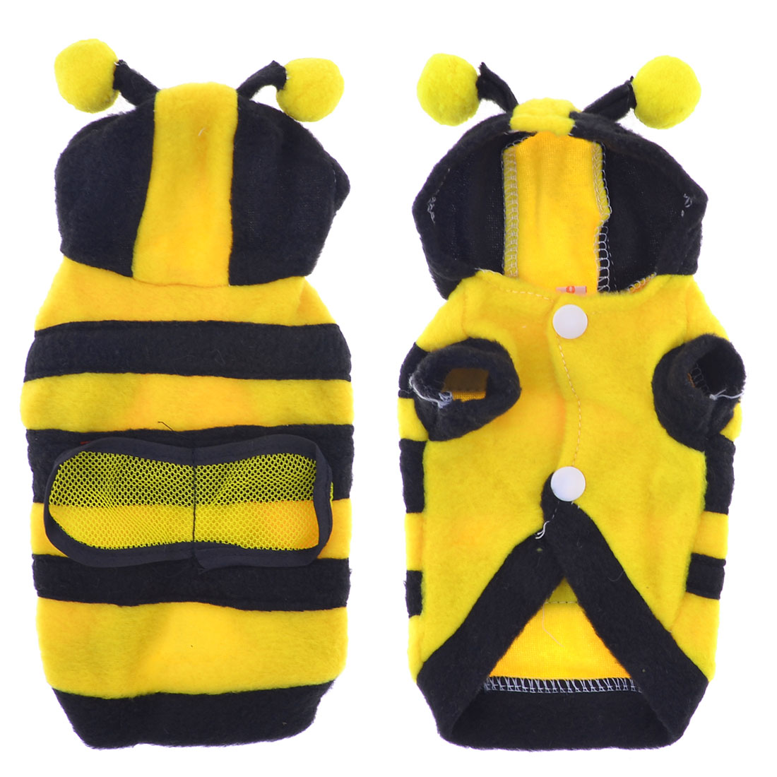 Single Breasted Bee Shaped Hooded Pet Dog Coat Jacket Yellow Black Size XXS