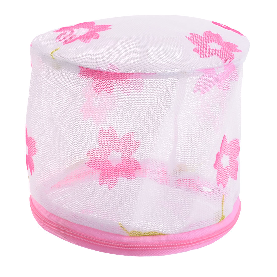 Zipper Closure Flower Pattern Foldable Underwear Wash Washing Bag White Pink