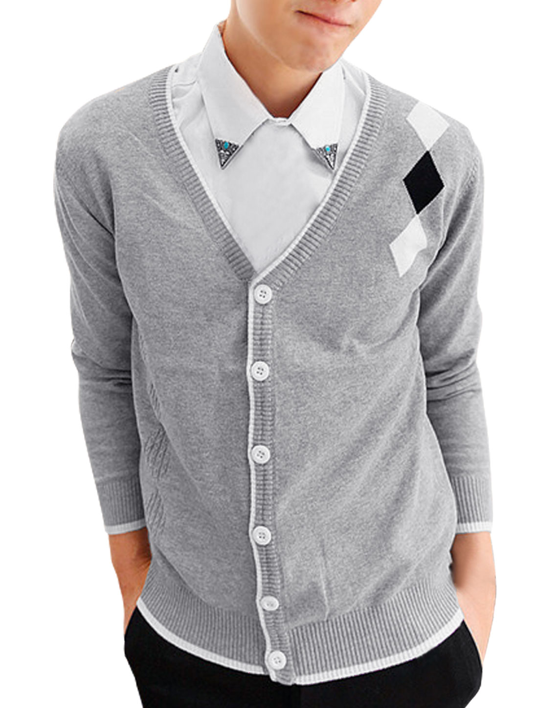 Men's Splice Color Single Breasted Light Gray Knitted Cardigan S