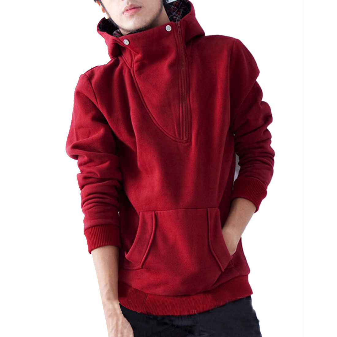 Men's Fashionable Plaids Convertible Collar Warm Red Hoodie M