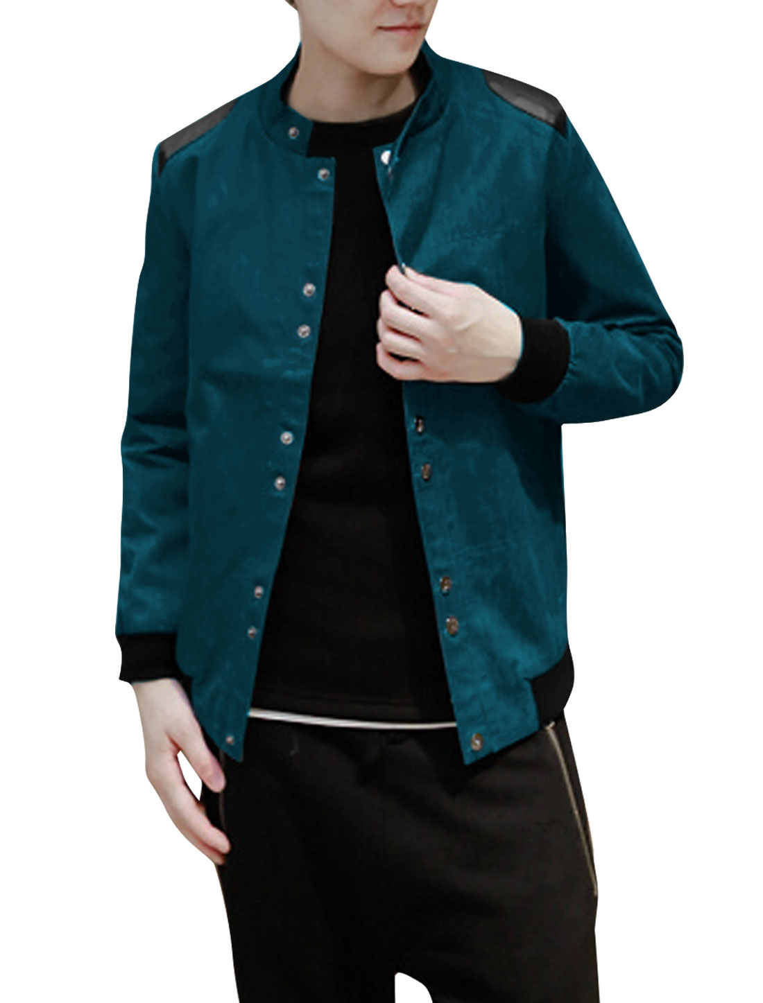 Men Snap Button Up Long Sleeve Plaids Lining Jacket Dark Turquoise M
