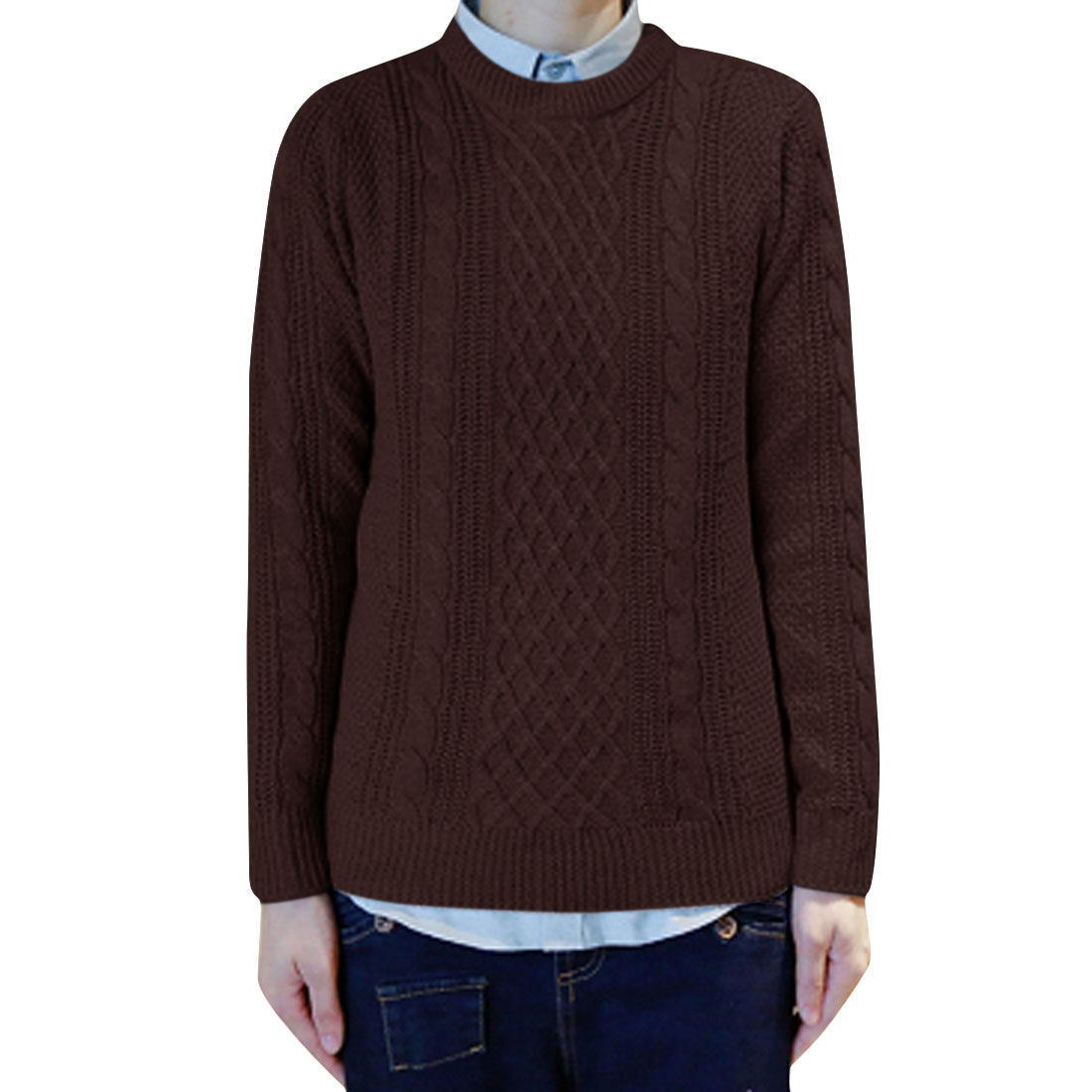 Men Pullover Braided Autumn Wearing Sweater Coffee M
