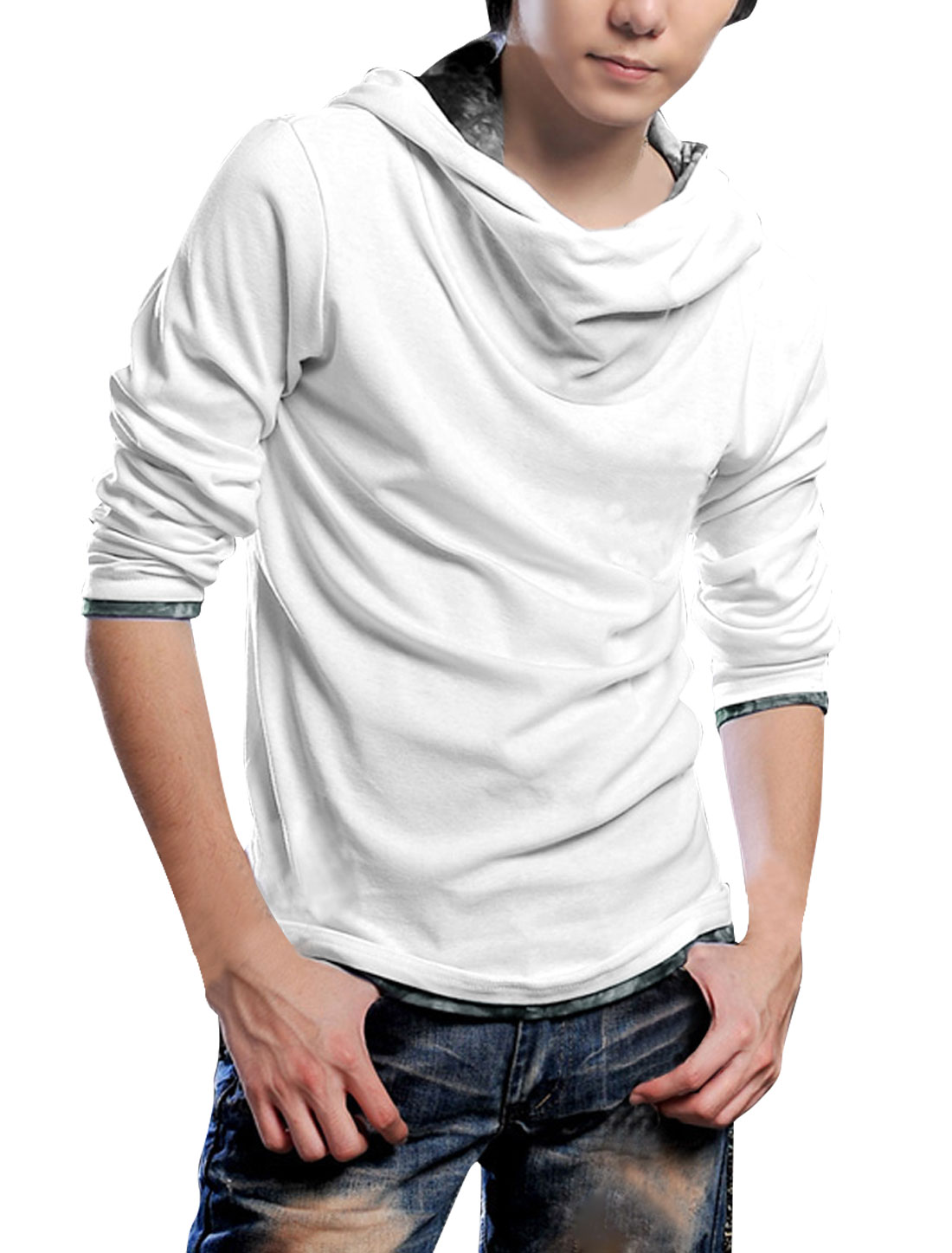 Men Long Sleeve Pullover Panel Hem Autumn Hoodies White M
