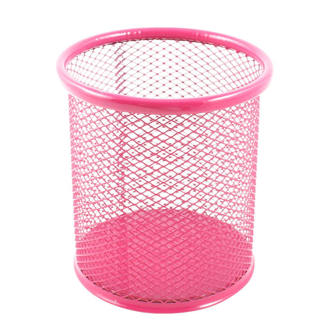 Office Metal Cylinder Mesh Design Pen Pencil Eraser Holder Container Pink