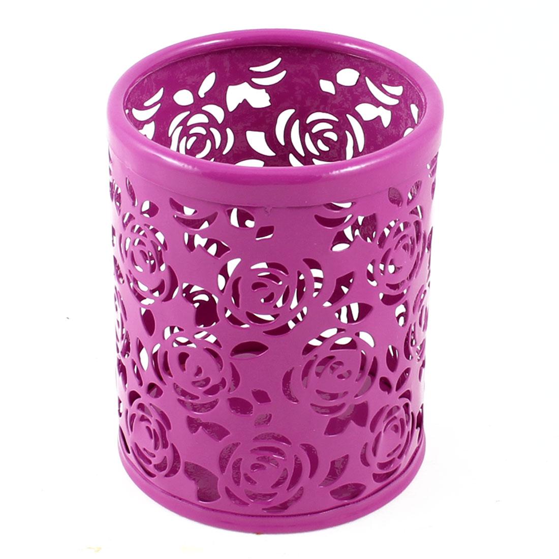Metal Cylinder Handwork Flower Pen Pencil Eraser Holder Container Purple