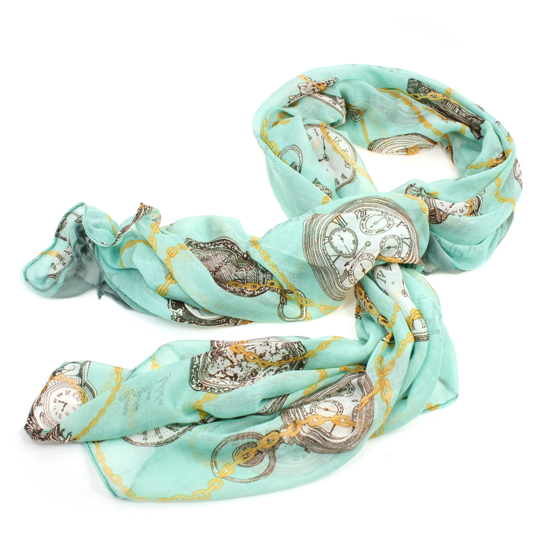 Women Clock Chain Pattern Green Chiffon Rectangled Long Scarf Shawl