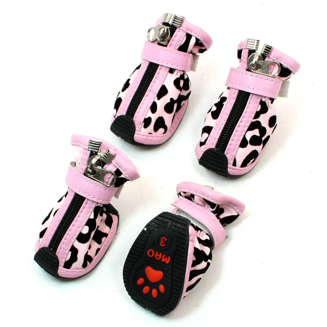 2 Pairs Pink Black Leopard Printed Zippered Faux Leather Dog Shoes Boots Size 3